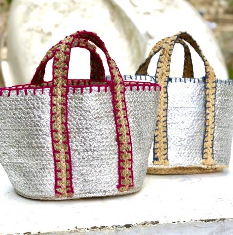 Raffia silvered bag
