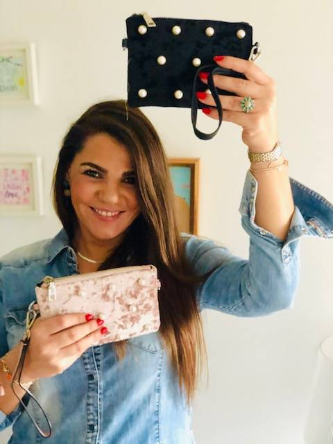 MINI BOLSO/MONEDERO TERCIOPELO PERLAS ROSA