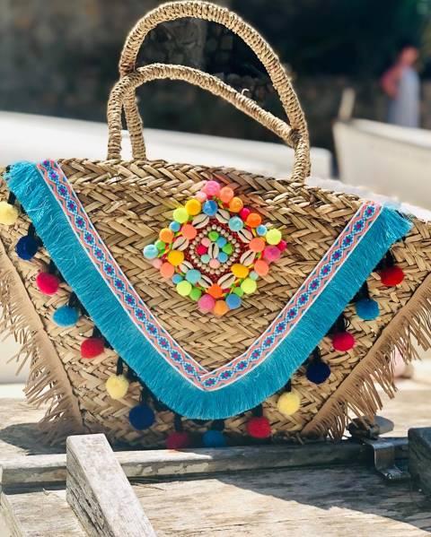 Raffia multicolor Fringes Bag