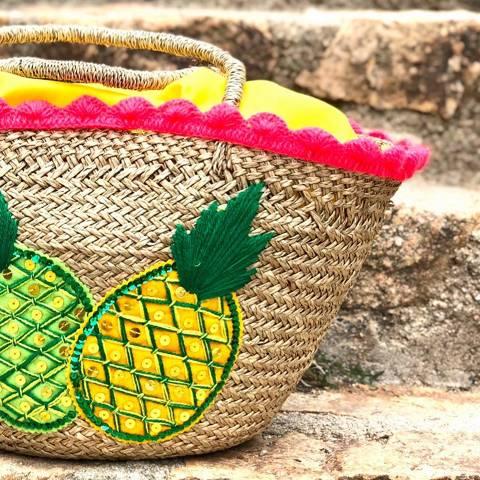 Pineapples Raffia Bag