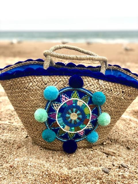 Blue Raffia Bag fortune heel