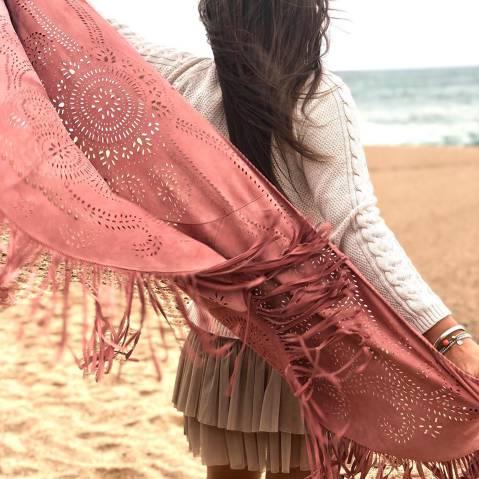 Foulard de piel Boho Rosa
